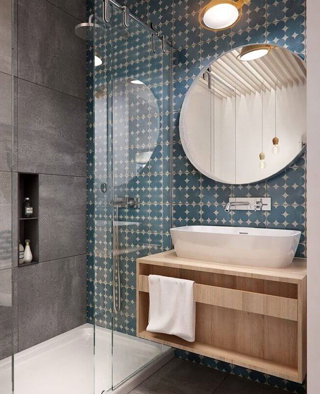 déco salle de bain scandinave bleu vintage