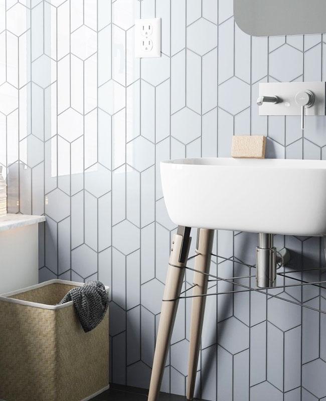 déco salle de bain scandinave faience géométrique