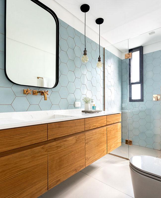 déco salle de bain scandinave bleu bois