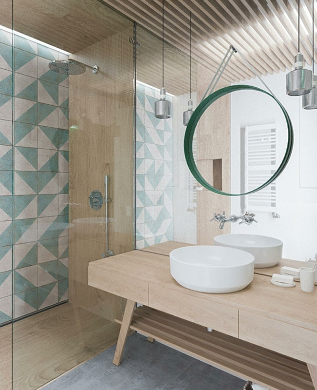 déco salle de bain scandinave bleu vert