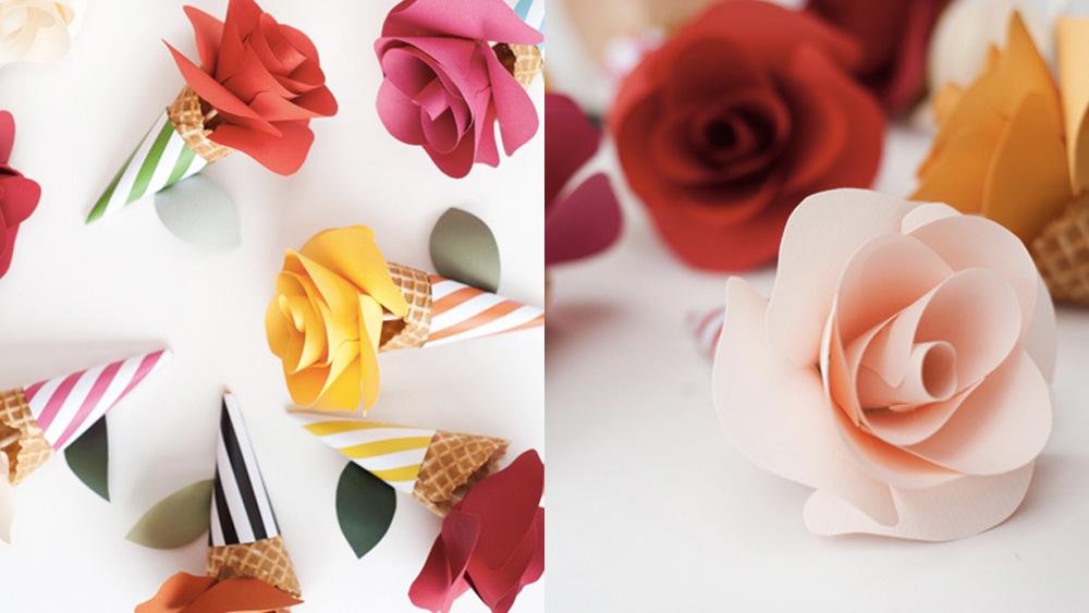 rose papier cone diy