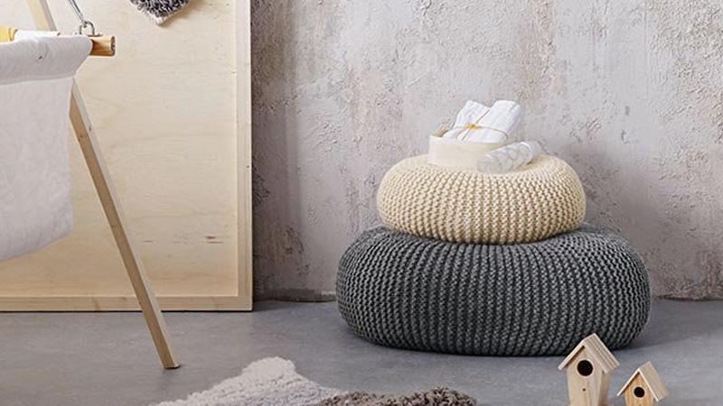 pouf laine diy
