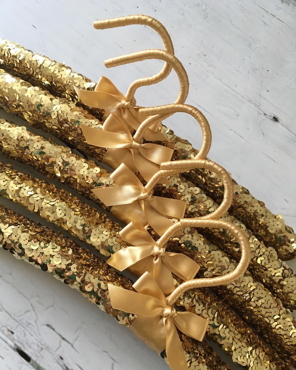 cintre doré paillette sequin diy