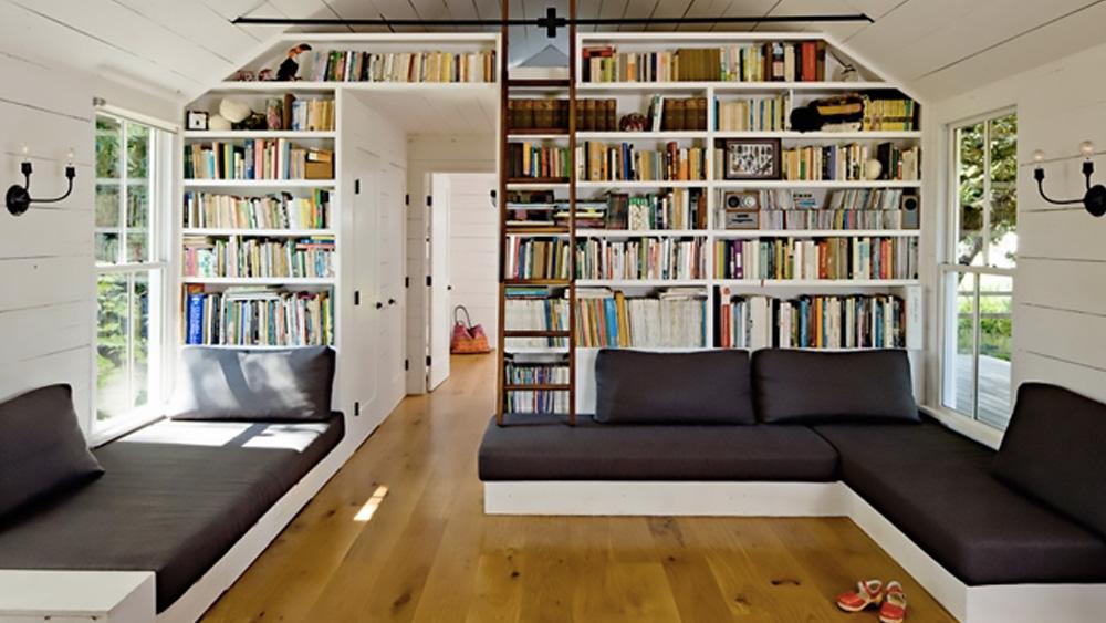 deco salon bibliothèque dans maison campagne