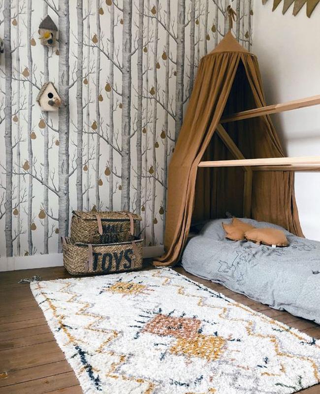 deco chambre enfant nature papier peint