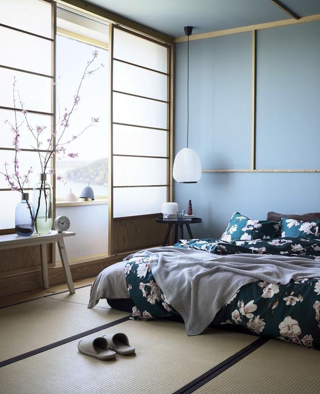 deco japonaise chambre bleu bois