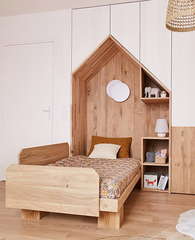 deco chambre enfant nature kaki bois
