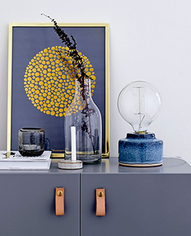 lampe céramique porcelaine bleu