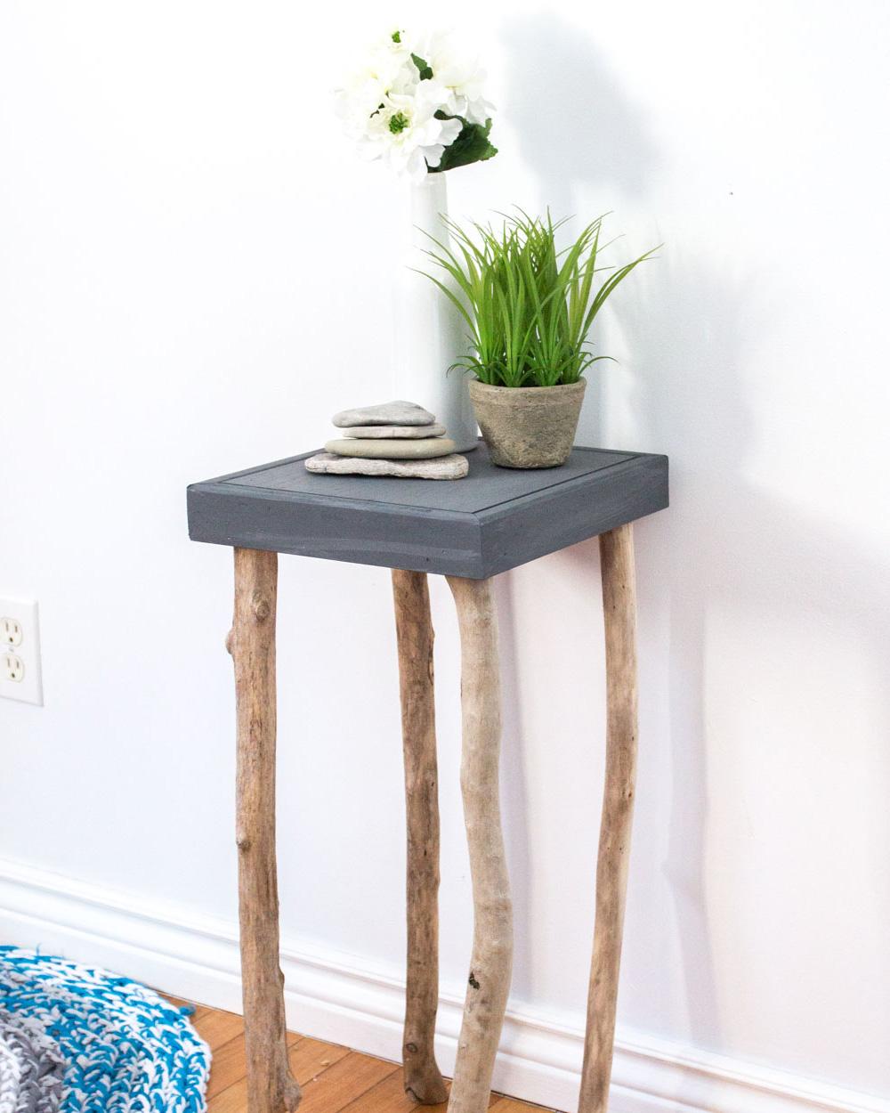 table chevet branche diy