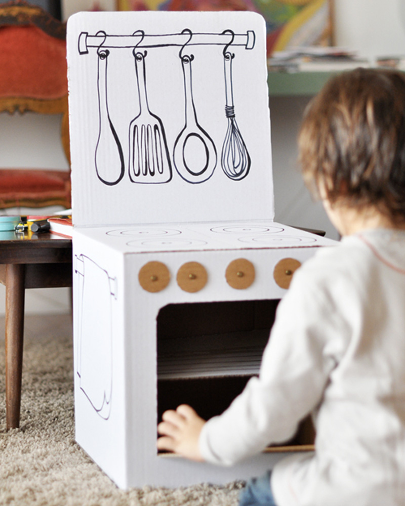 gaziniere carton enfant diy