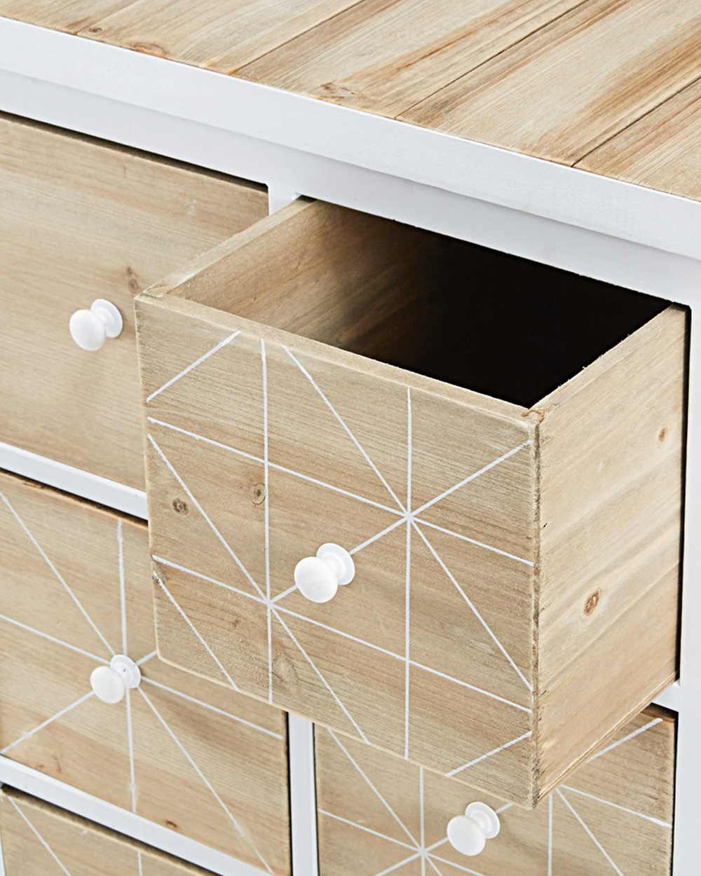 cabinet bois motif triangles