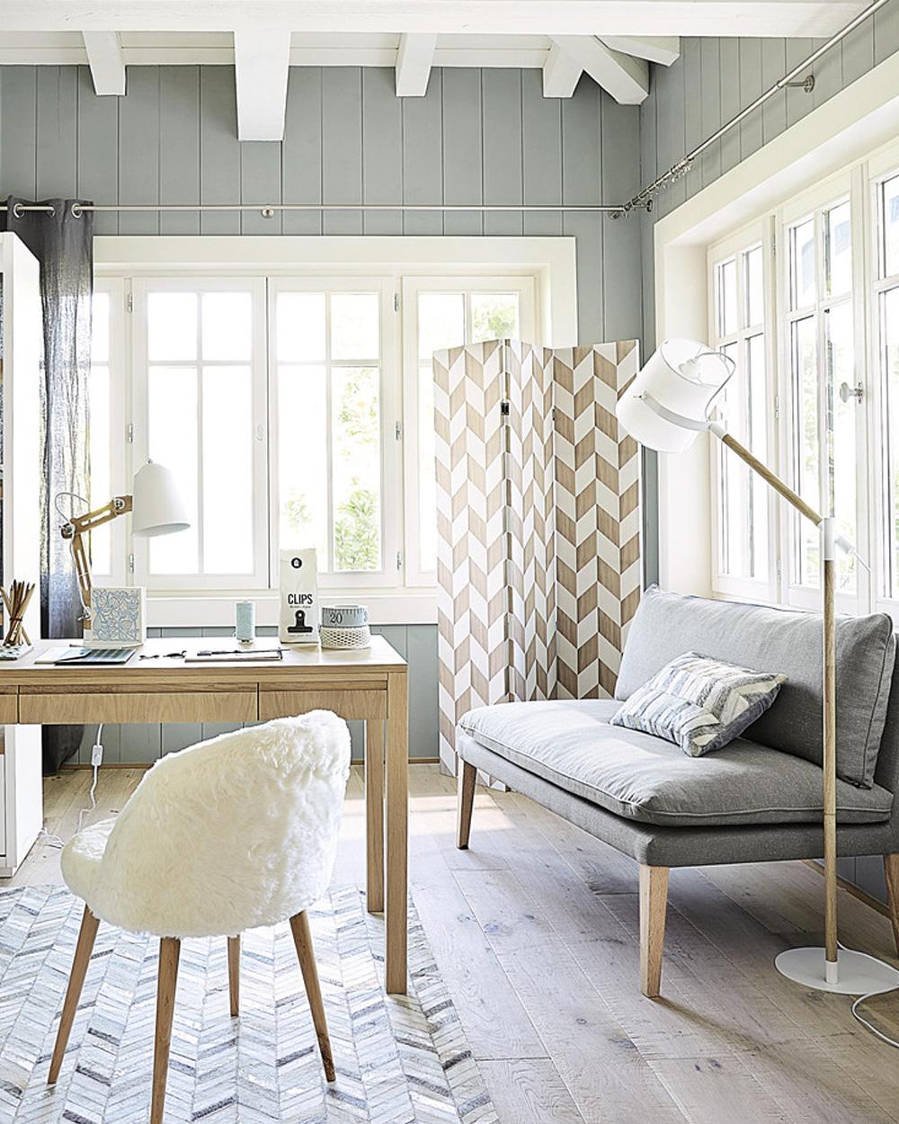 paravent blanc bois géométrique