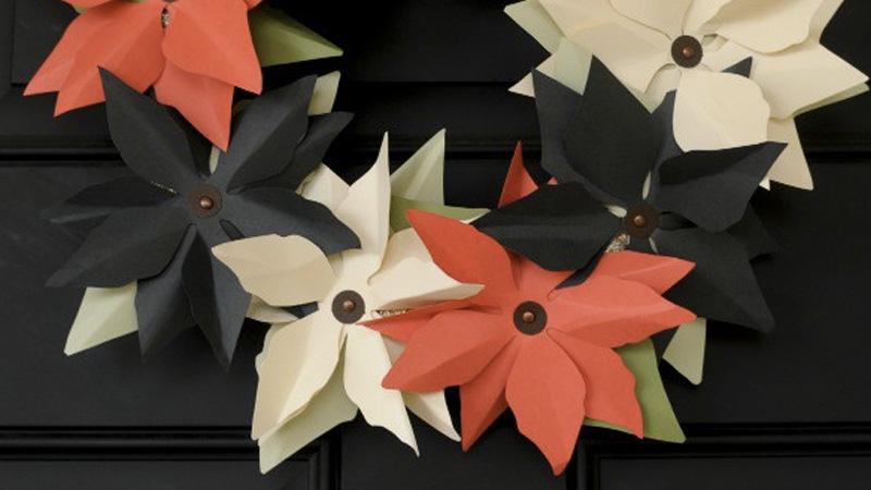 couronne noel fleur papier diy