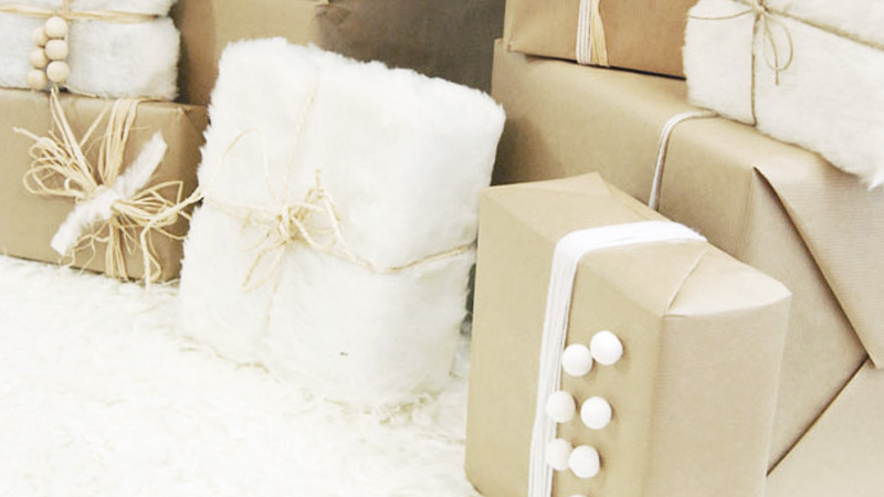 paquet cadeau fourrure diy noel