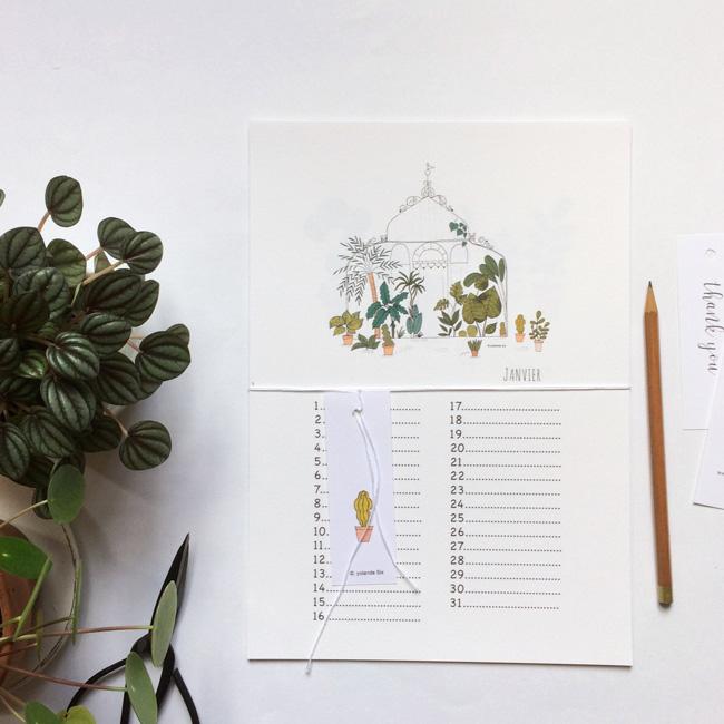 illustration végétale mademoiselle yo etsy calendrier anniversaire serre botanique