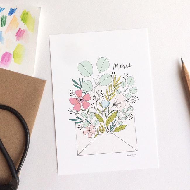 illustration végétale mademoiselle yo etsy carte florale merci