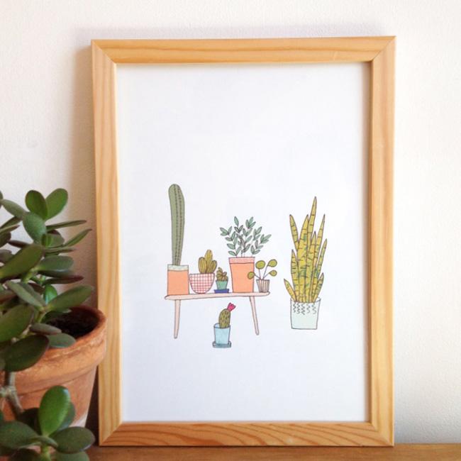illustration végétale mademoiselle yo etsy affiche cactus