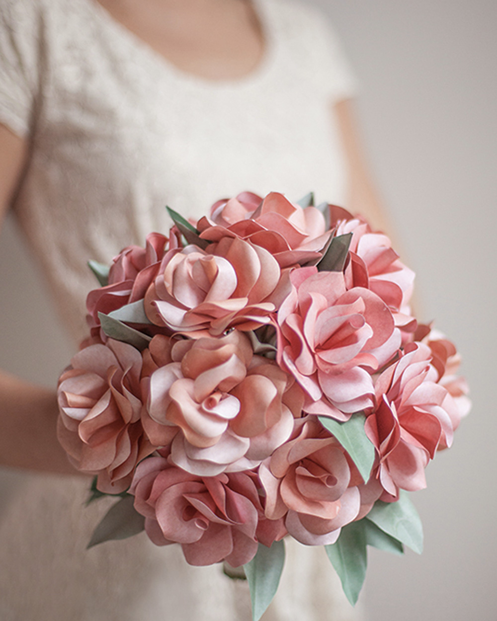 bouquet rose papier diy