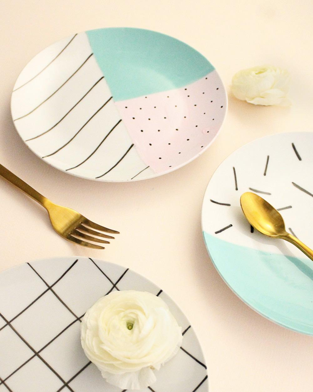 assiette colorée diy