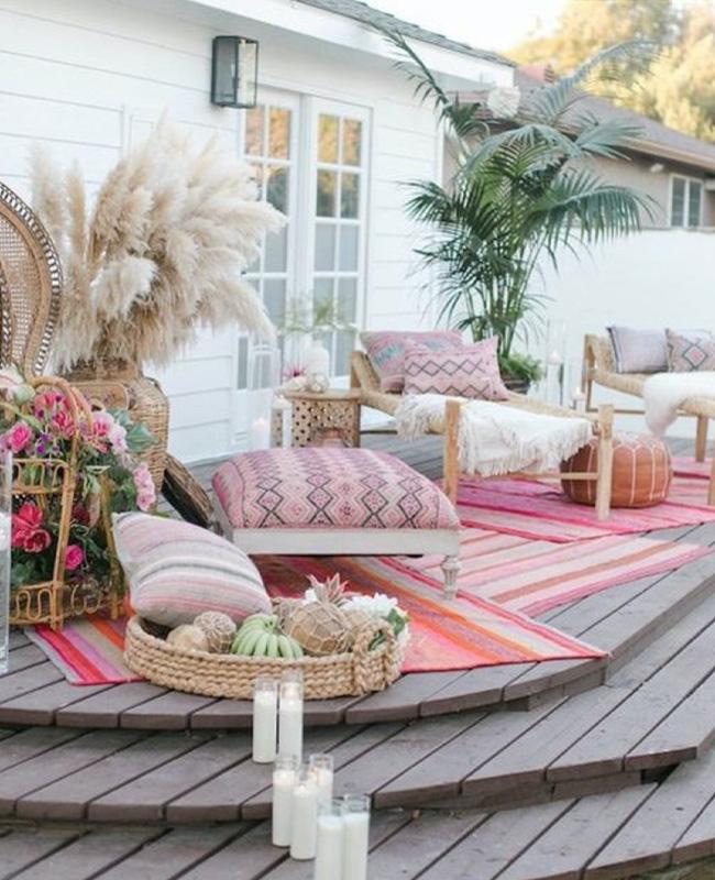 deco terrasse ethnique rose