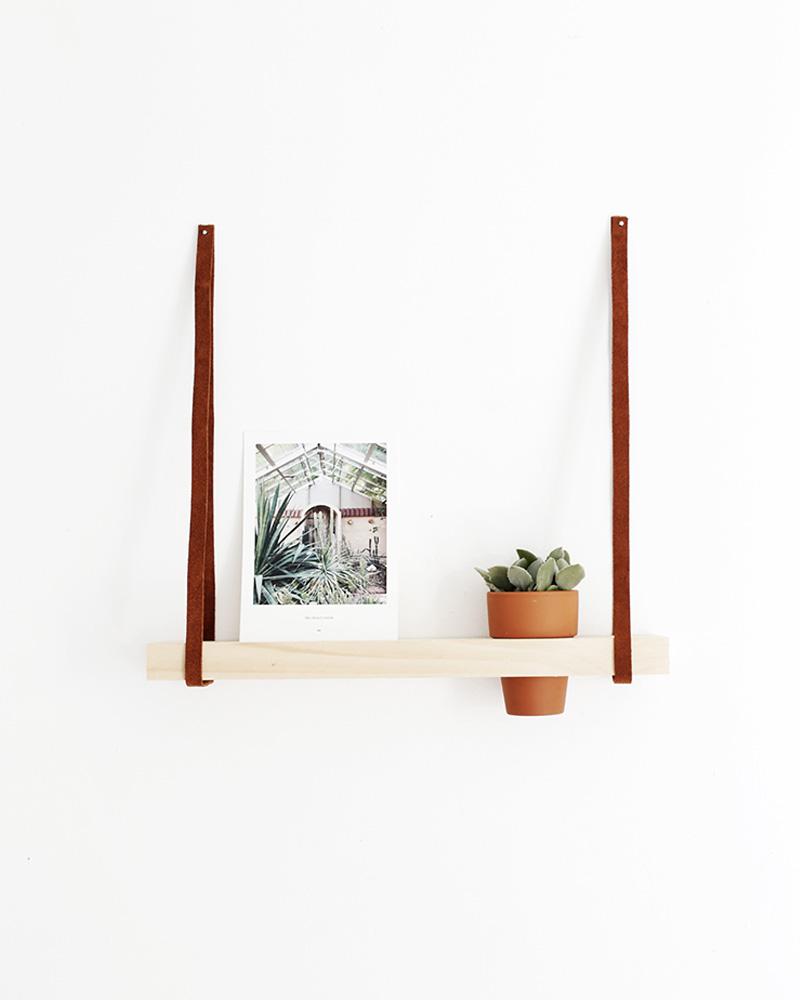etagere murale diy lanière cuir fleur plante