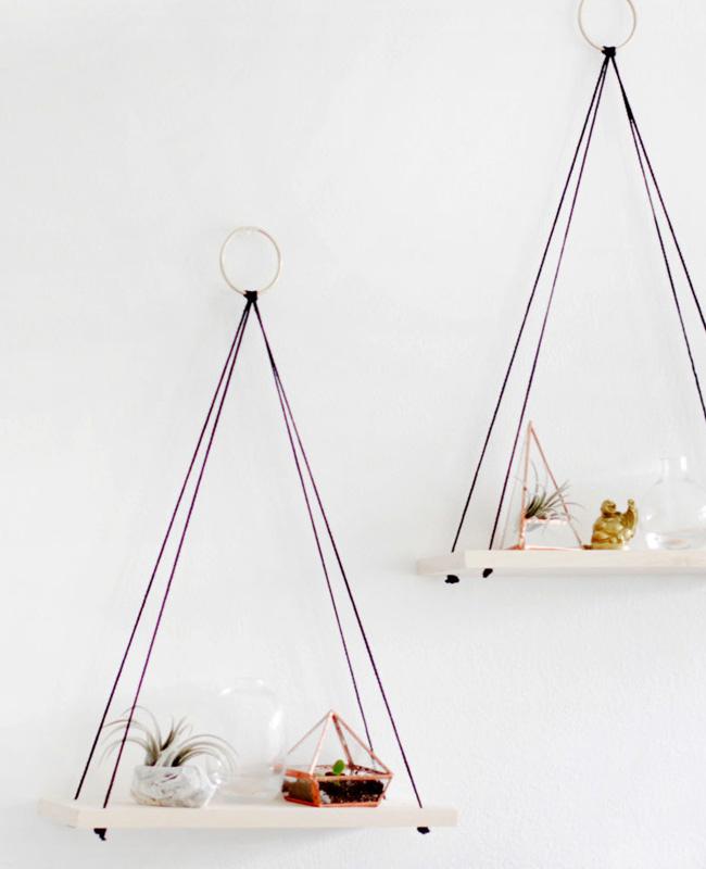 étagère murale suspendue corde diy triangle
