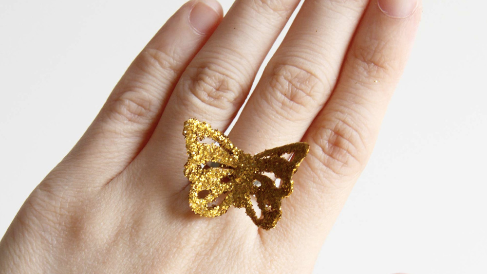 bague papillon paillette diy