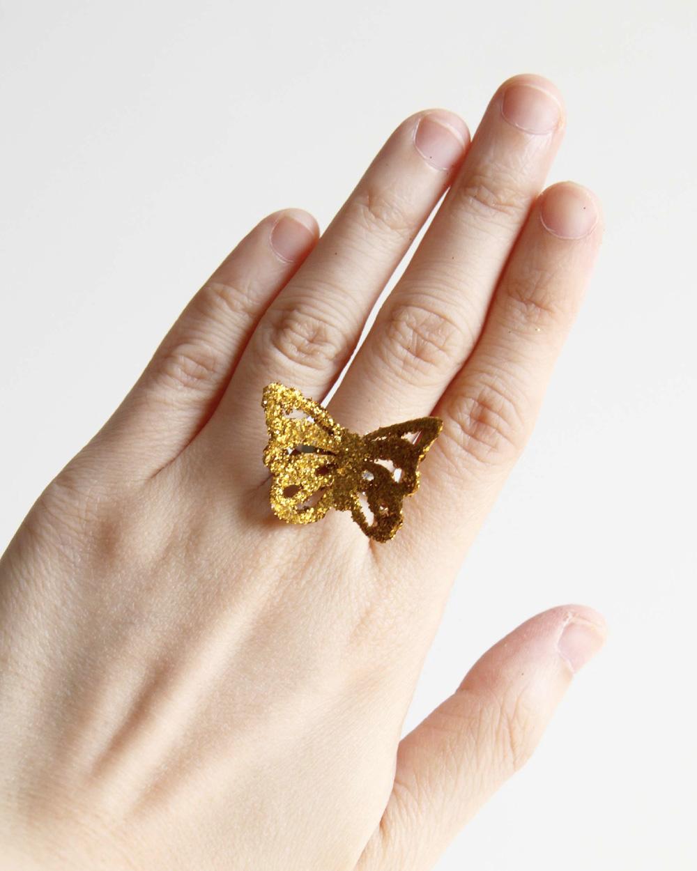 bague papillon paillette diy