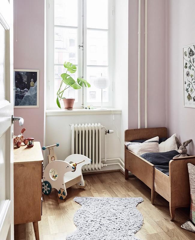 deco vintage enfant murs roses
