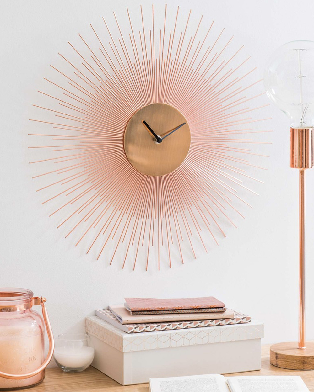 horloge soleil métal cuivré