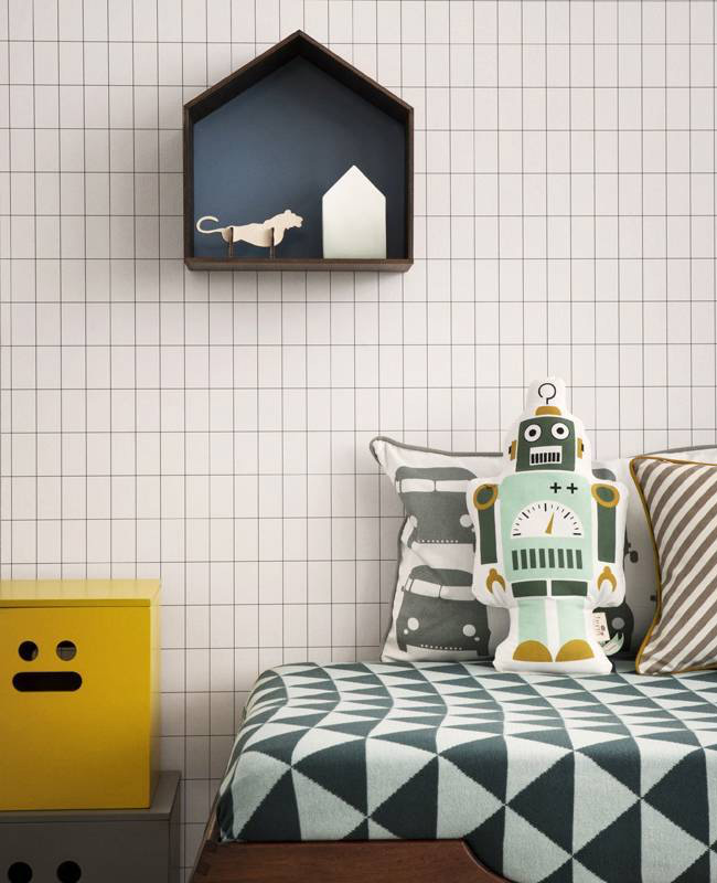 deco murale papier peint ferm living enfant grid