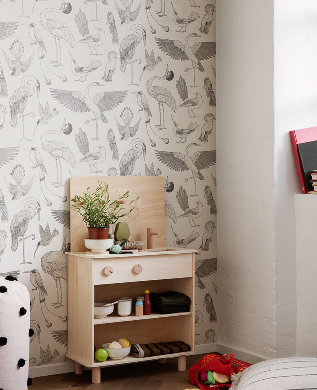 deco murale papier peint ferm living enfant oiseau blanc