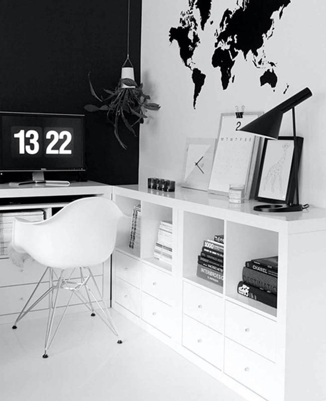 deco mur noir bureau blanc