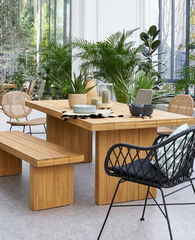 banc jardin bois moderne