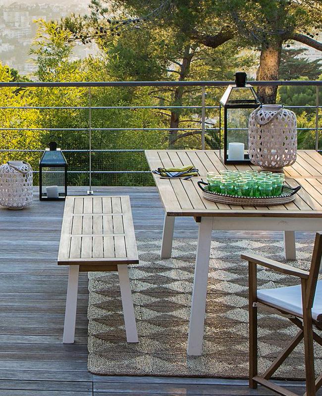 banc jardin bois blanc