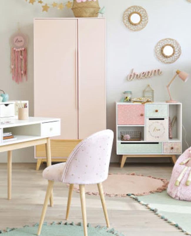 armoire vintage enfant rose bois