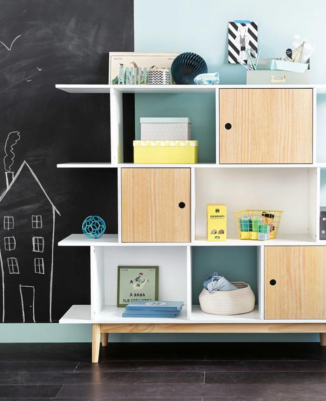 bibliothèque enfant blanc bois