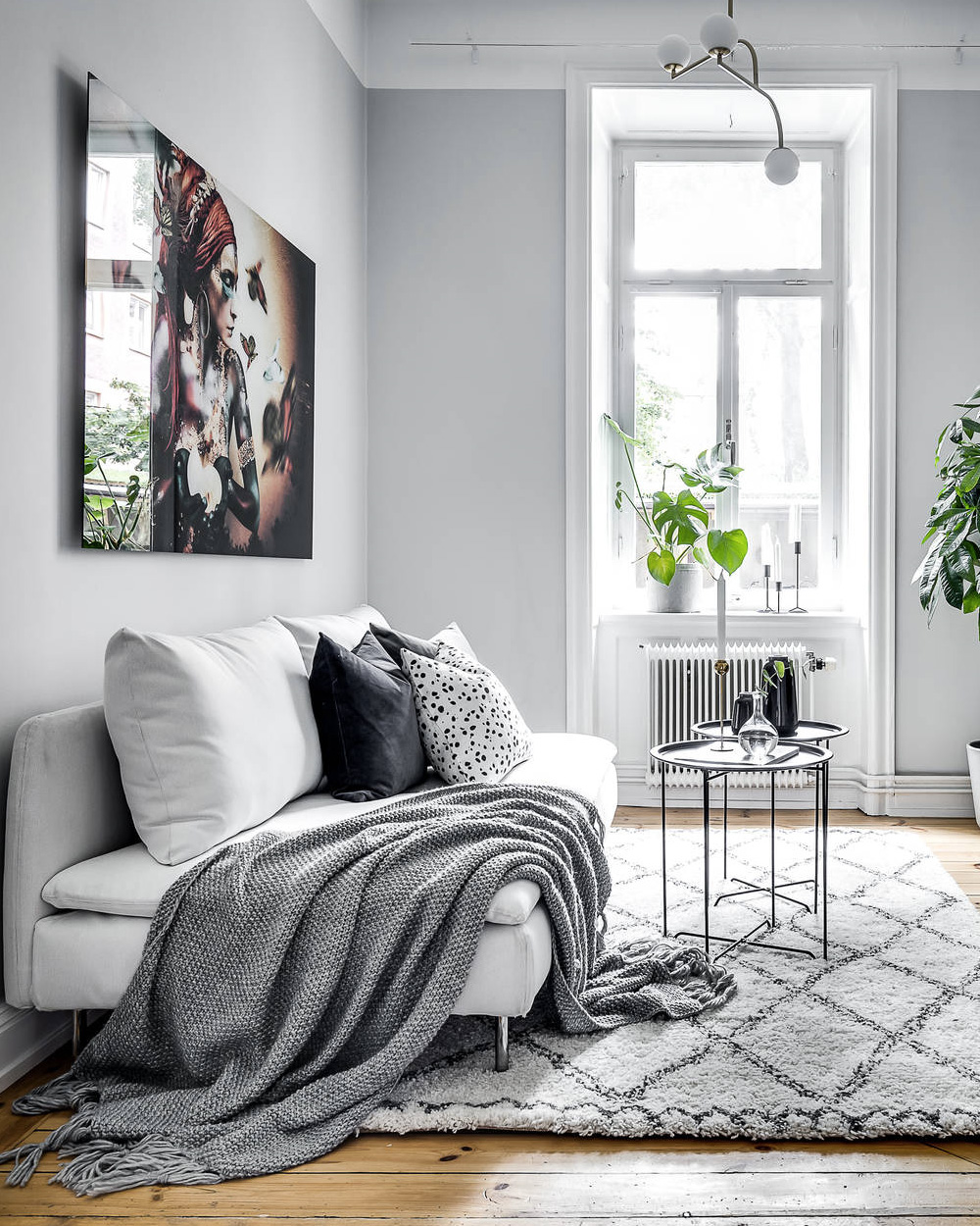 deco salon scandinave gris