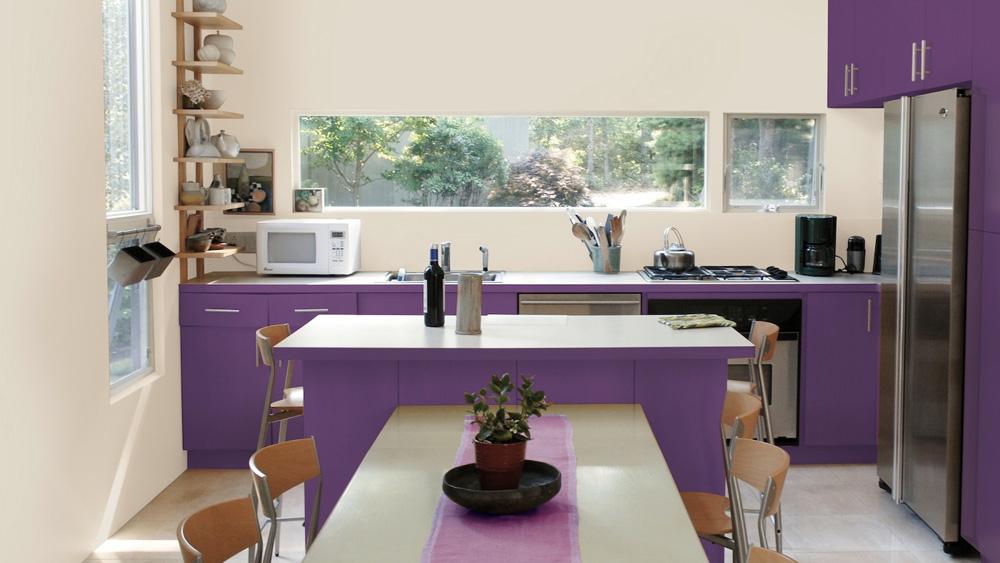 peindre meuble cuisine violet diy