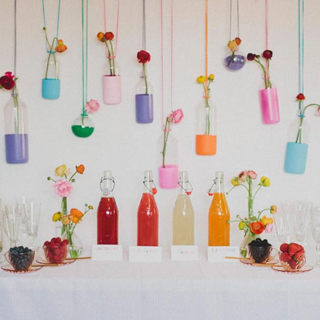 bar coloré suspendu mariage diy