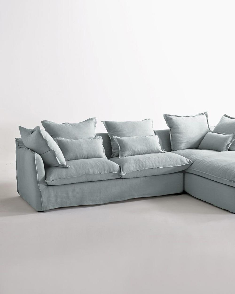 canapé d'angle vert menthe en lin
