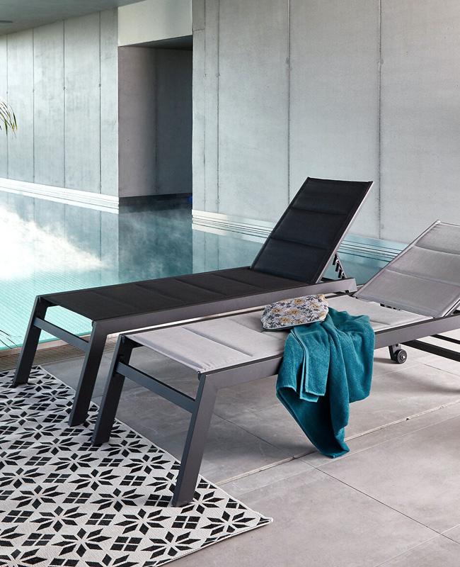 chaise longue moderne gris
