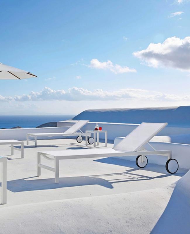 chaise longue aluminium blanc