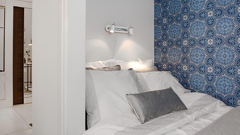 chambre deco papier peint bleu