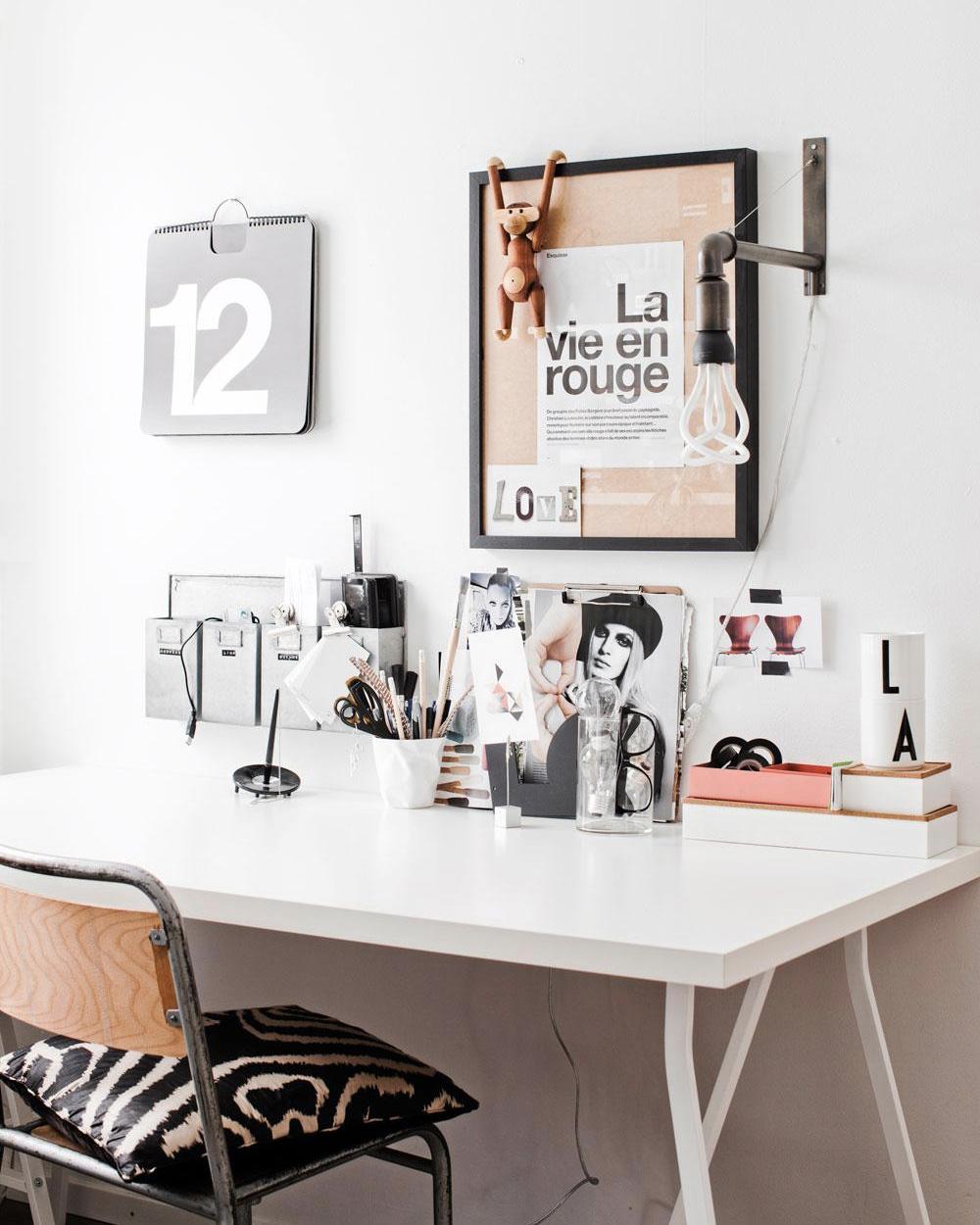 deco bureau noir blanc bois