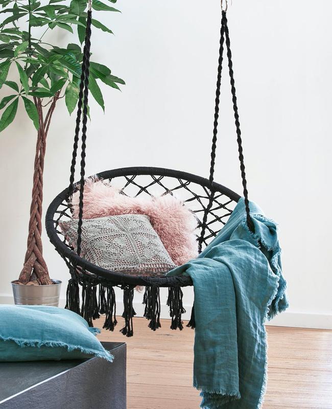 fauteuil suspendu jardin macrame noir