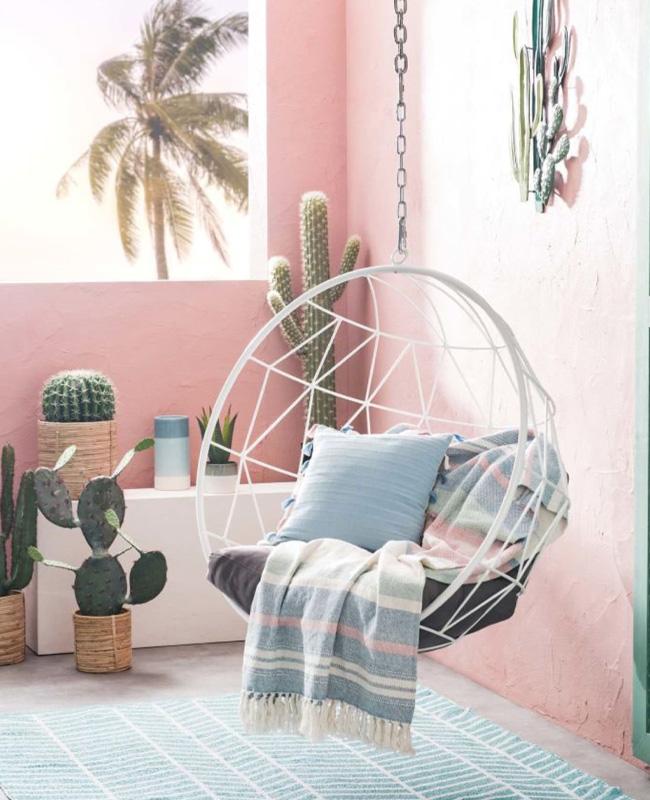 fauteuil suspendu jardin metal blanc