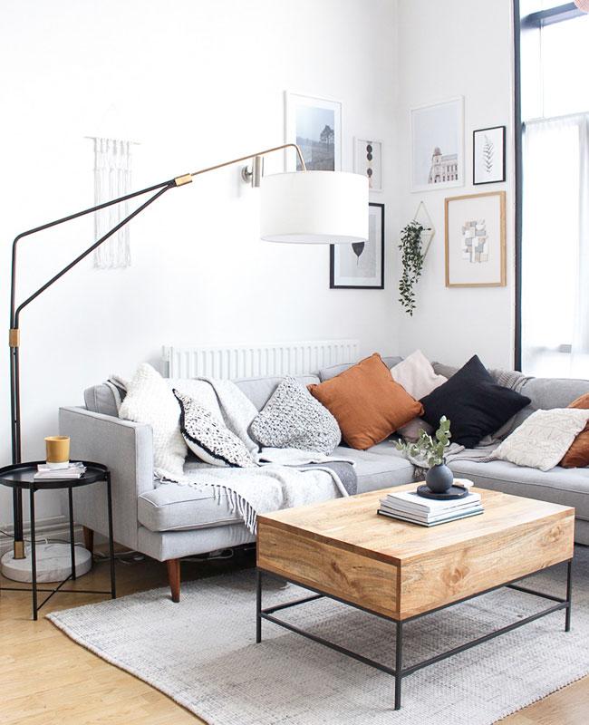 deco salon blanc bois gris terracotta
