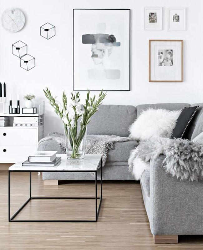 deco salon blanc gris moderne