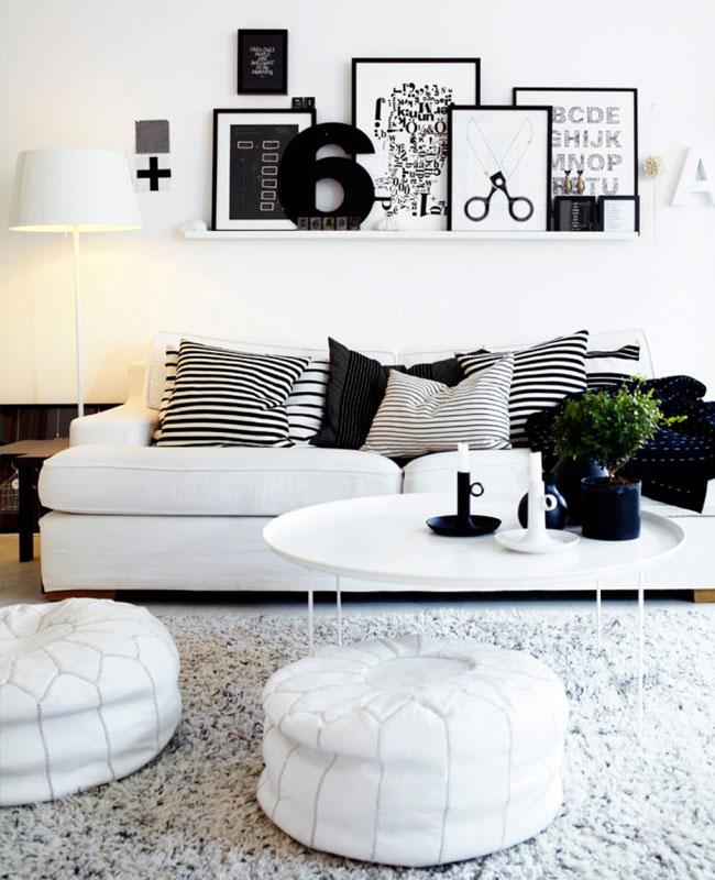 deco salon blanc noir contraste